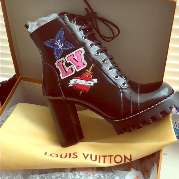 Lv Black Heart Ankle Boot